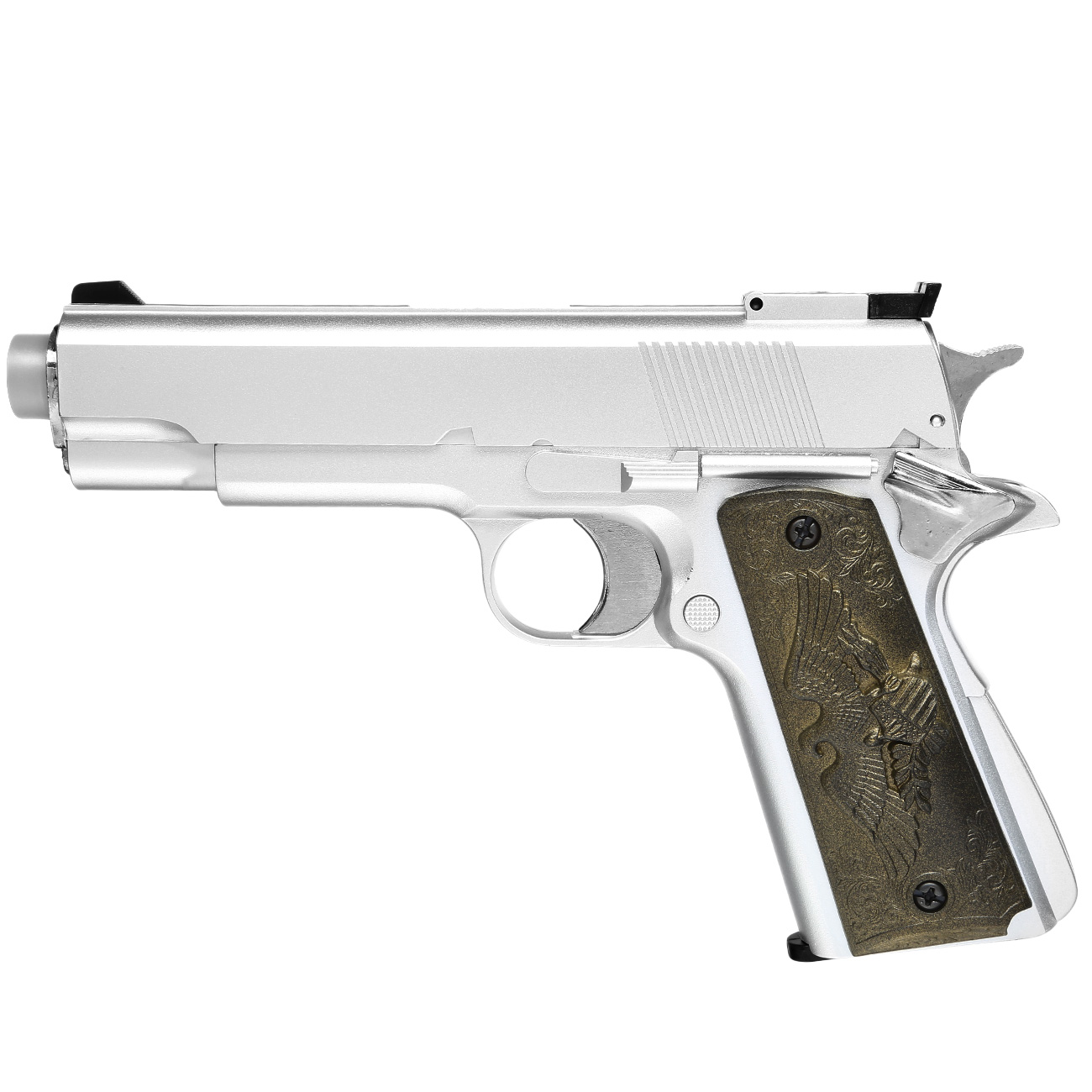 HFC M1911 Eagle-Style Gas NBB Softairpistole 6mm BB silber 0