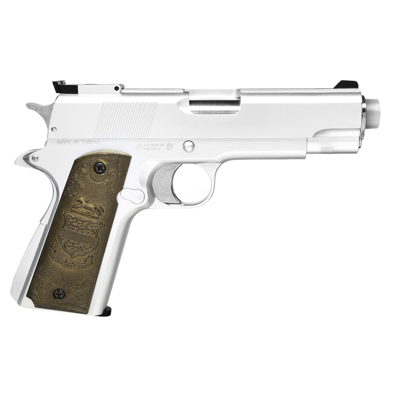 HFC M1911 Eagle-Style Gas NBB Softairpistole 6mm BB silber 2
