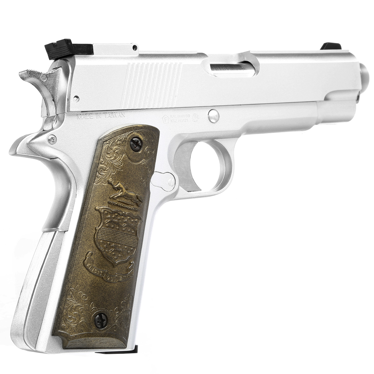 HFC M1911 Eagle-Style Gas NBB Softairpistole 6mm BB silber 3