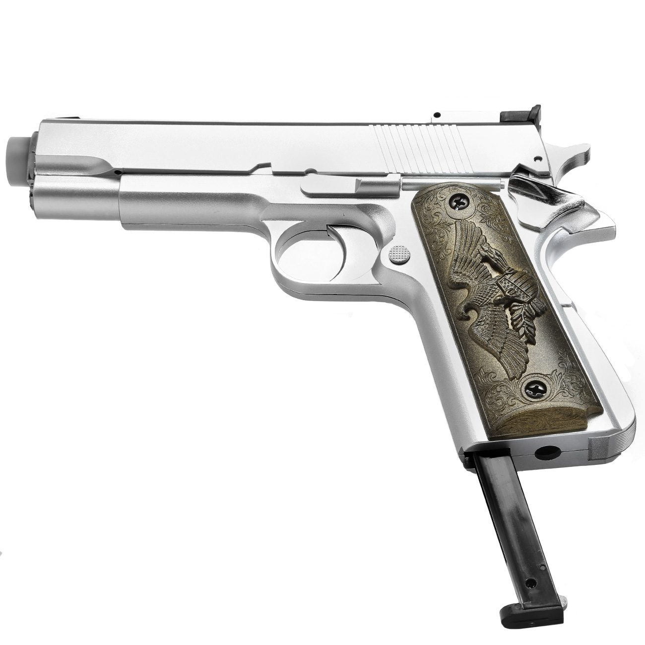 HFC M1911 Eagle-Style Gas NBB Softairpistole 6mm BB silber 5