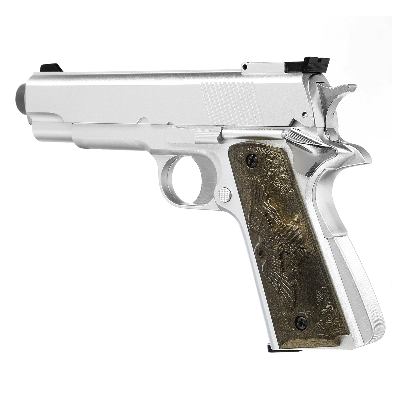 HFC M1911 Eagle-Style Gas NBB Softairpistole 6mm BB silber 6