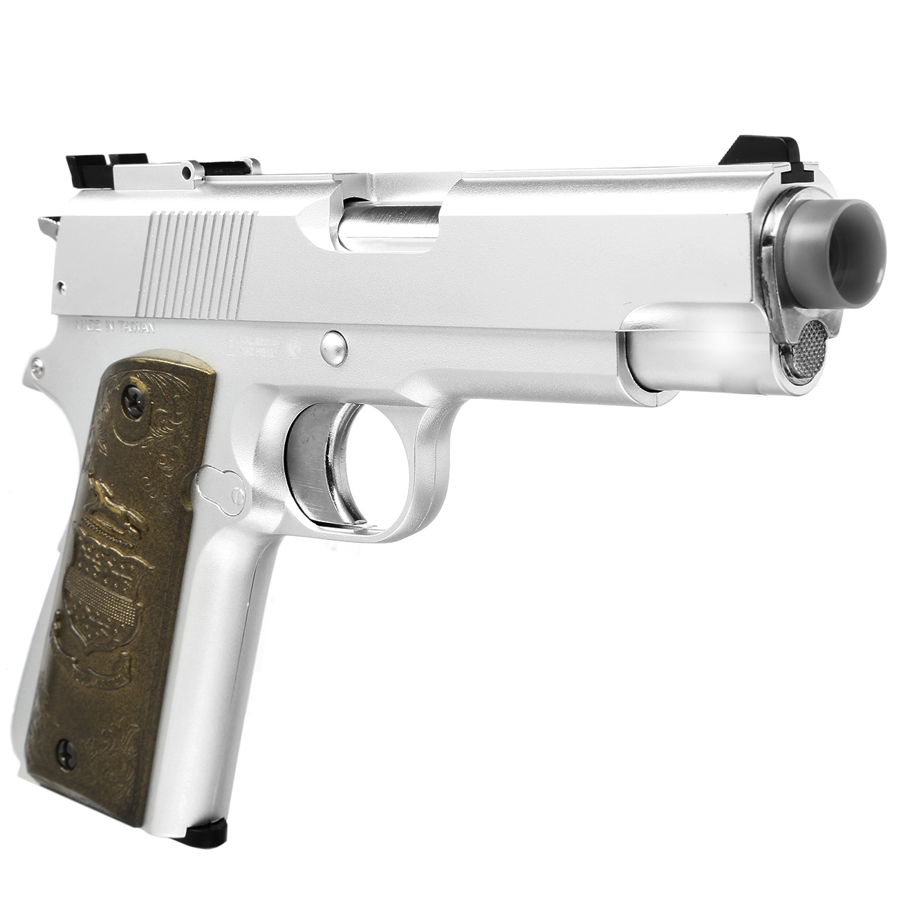 HFC M1911 Eagle-Style Gas NBB Softairpistole 6mm BB silber 7