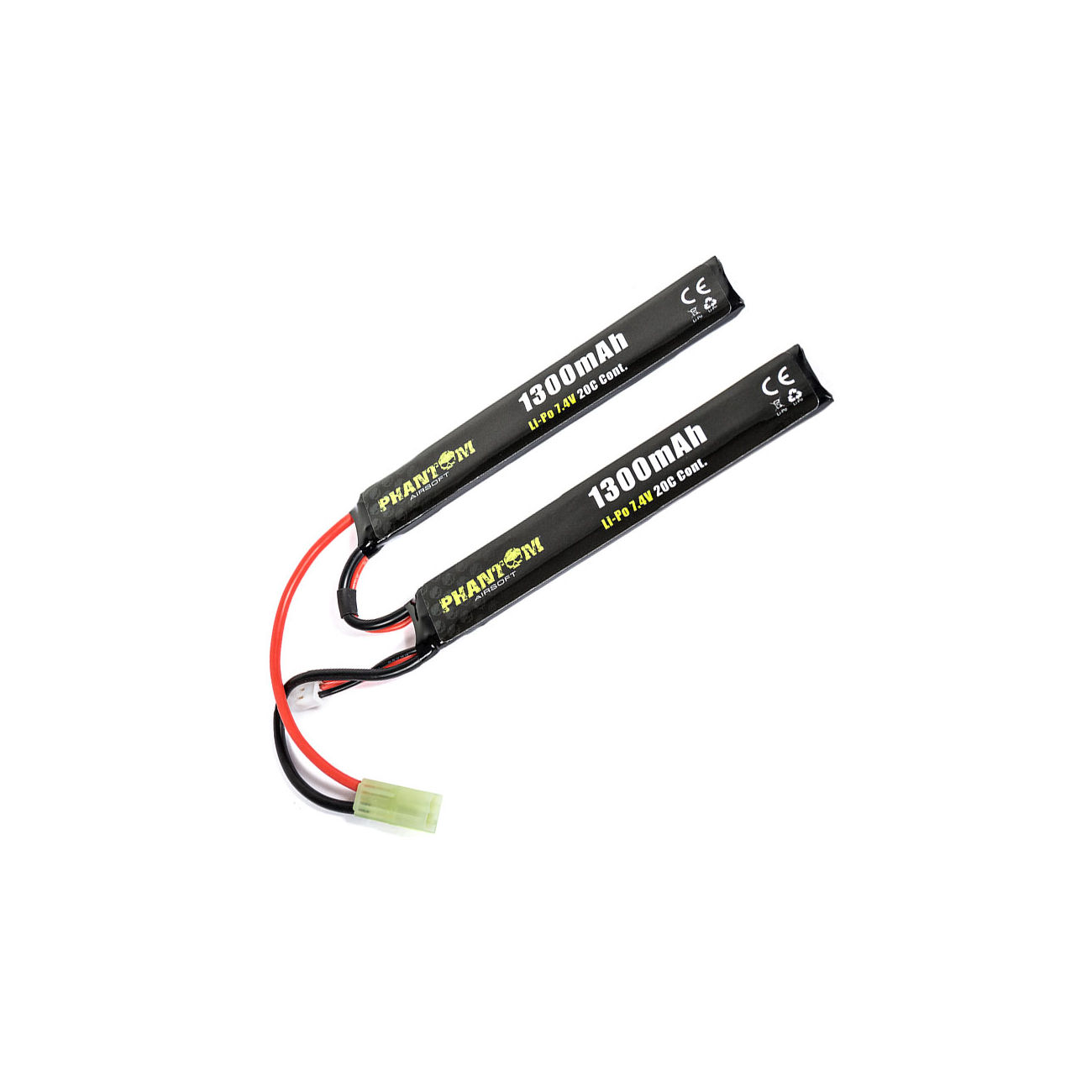 Phantom Airsoft LiPo Akku 7,4V 1300mAh 20C Small-Long Two-Panel Type 0