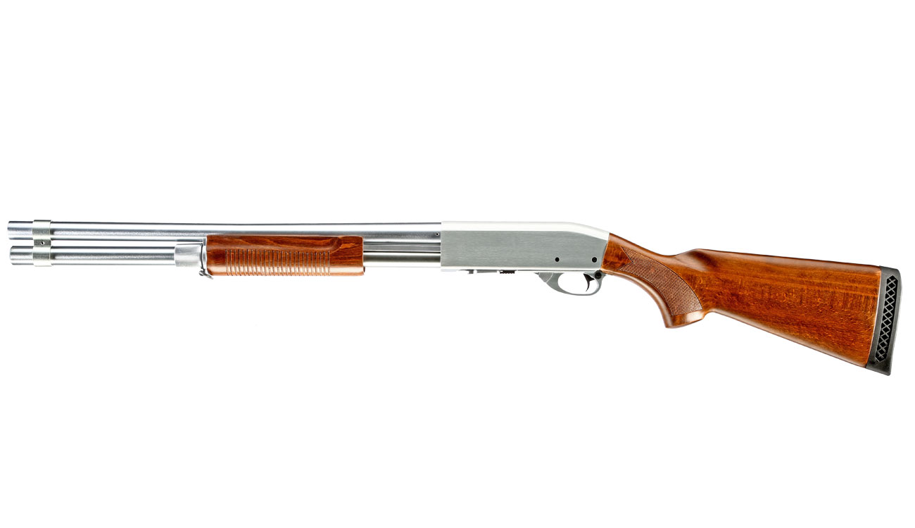 Qingliu M870 Long-Type Shotgun Vollmetall Echtholz Springer 6mm BB silber 1
