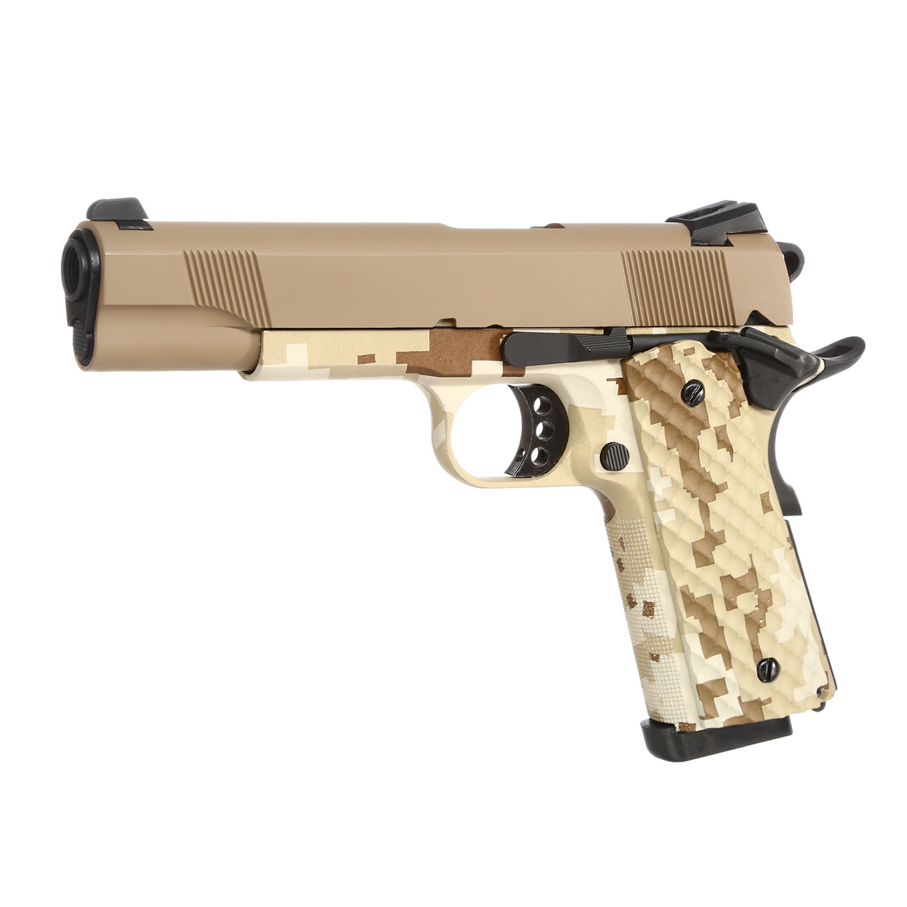 Nuprol Raven M1911 MEU Vollmetall GBB 6mm BB Tan / Digital Desert 0