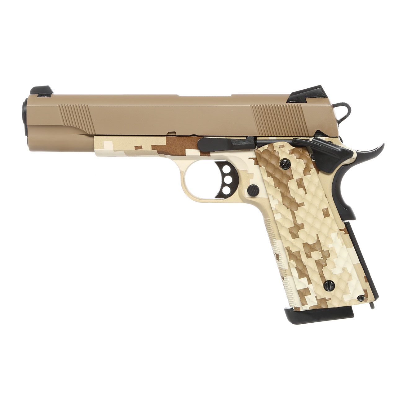 Nuprol Raven M1911 MEU Vollmetall GBB 6mm BB Tan / Digital Desert 1
