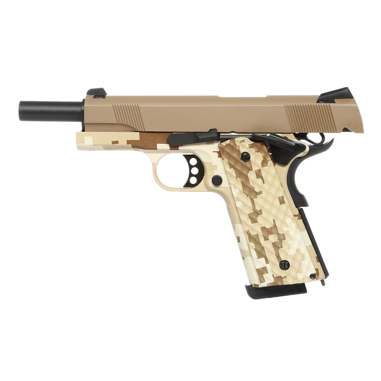Nuprol Raven M1911 MEU Vollmetall GBB 6mm BB Tan / Digital Desert 2