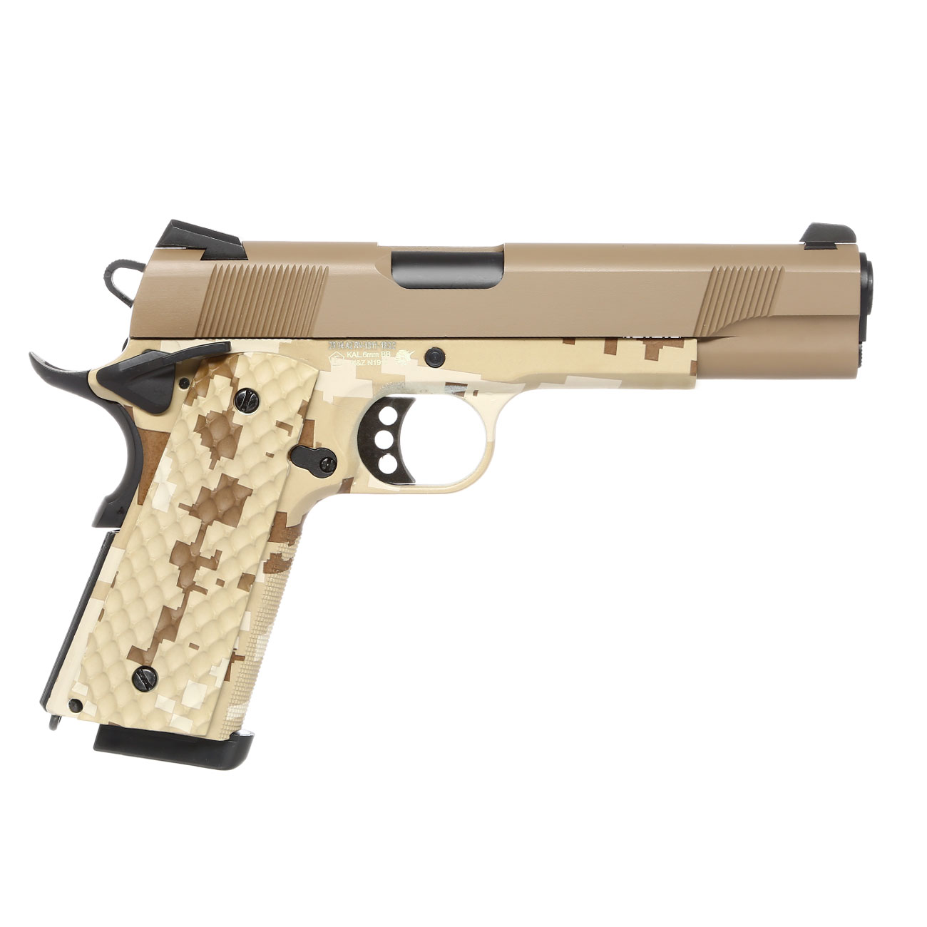 Nuprol Raven M1911 MEU Vollmetall GBB 6mm BB Tan / Digital Desert 3