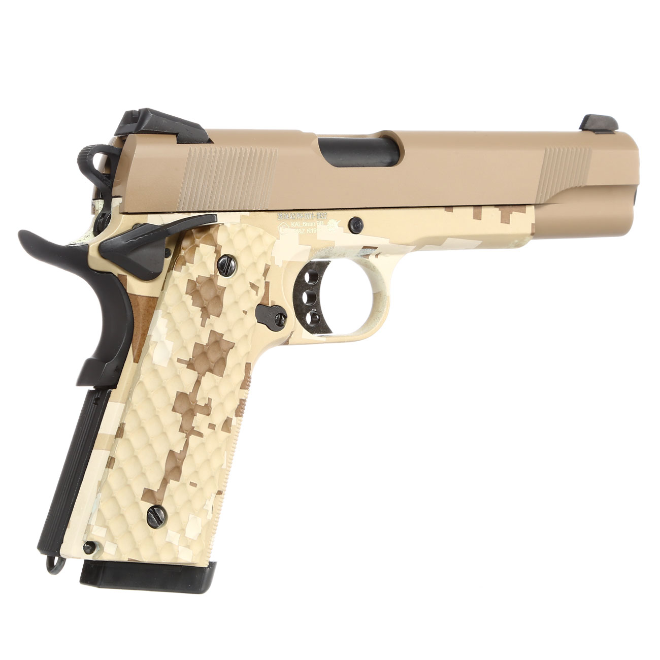 Nuprol Raven M1911 MEU Vollmetall GBB 6mm BB Tan / Digital Desert 4