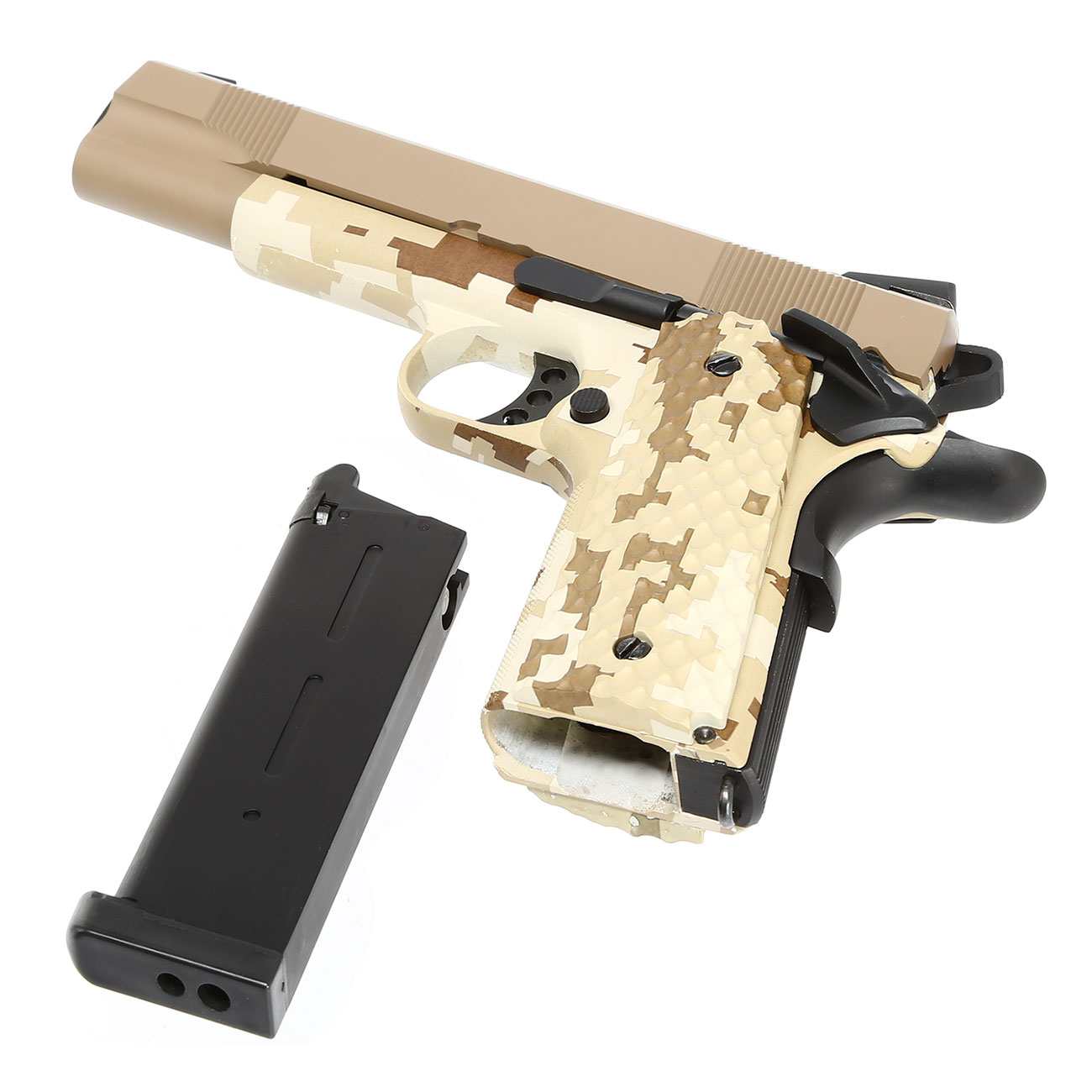 Nuprol Raven M1911 MEU Vollmetall GBB 6mm BB Tan / Digital Desert 6