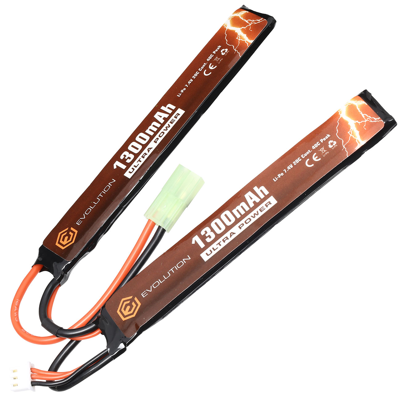Evolution Ultra-Power LiPo Akku 7,4V 1300mAh 20C / 40C Small-Long Tri-Panel Type m. Mini-Tam Anschluss 0