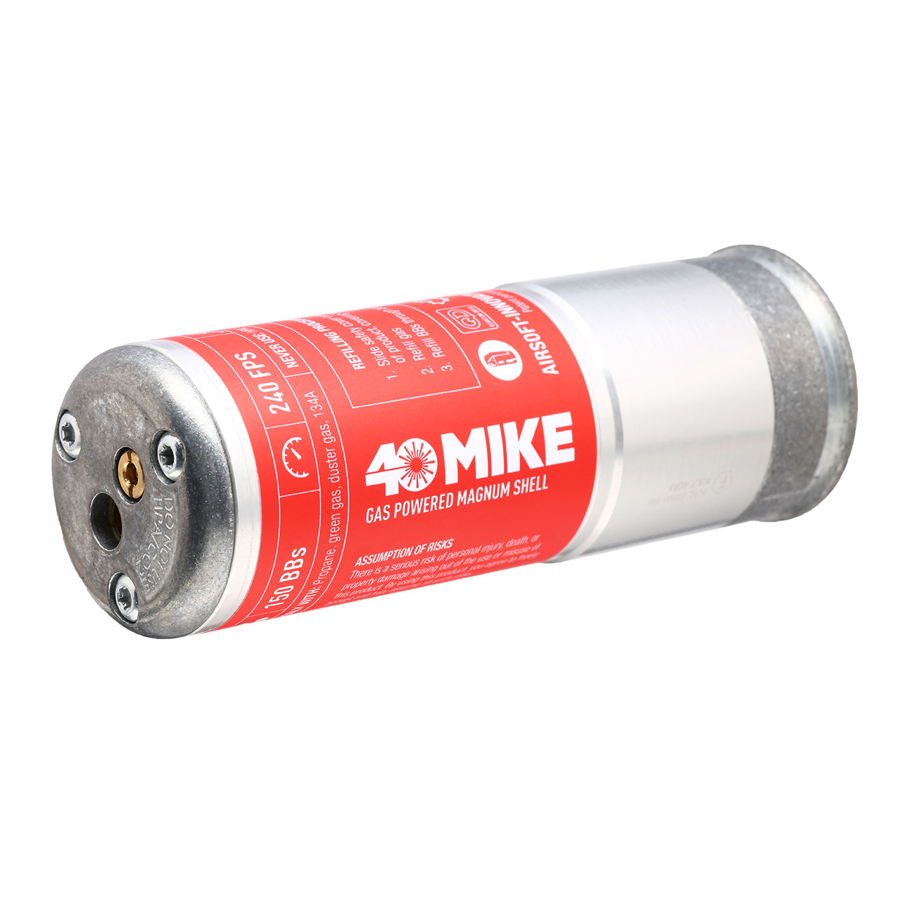 Airsoft Innovations 40 Mike 40mm Vollmetall Hülse / Einlegepatrone f. 150 6mm BBs rot / silber 0