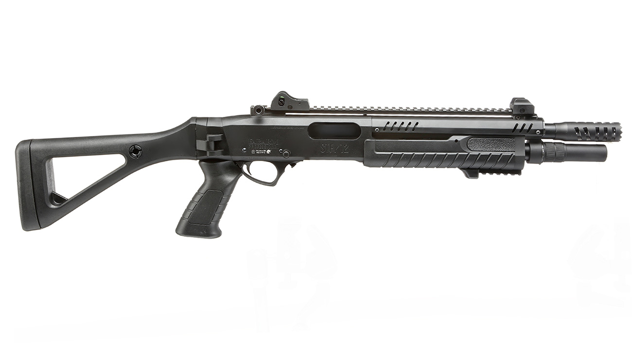 VFC / BO Manufacture Fabarm STF12 Compact 11 Zoll Vollmetall Pump Action Gas Shotgun 6mm BB schwarz 2