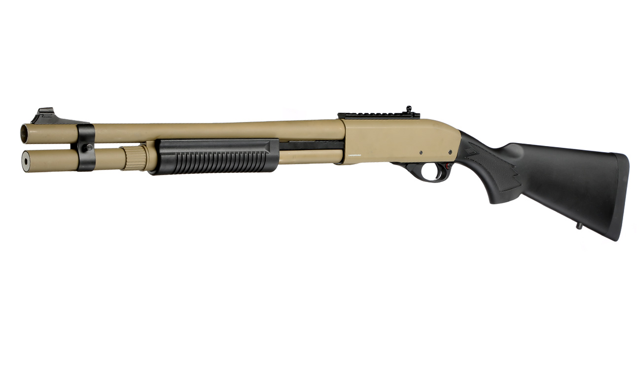 Golden Eagle M8872 Vollmetall Pump Action Gas Shotgun 6mm BB Tan 0