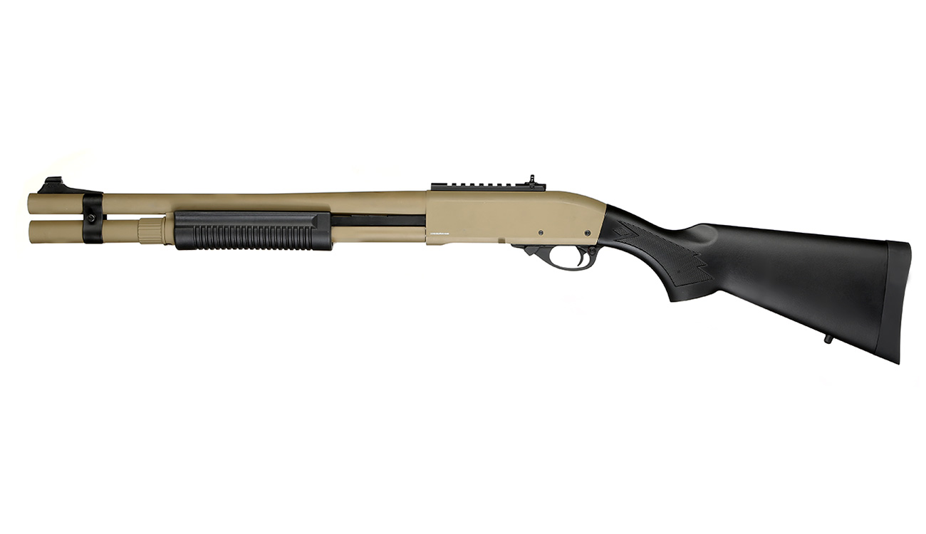 Golden Eagle M8872 Vollmetall Pump Action Gas Shotgun 6mm BB Tan 1