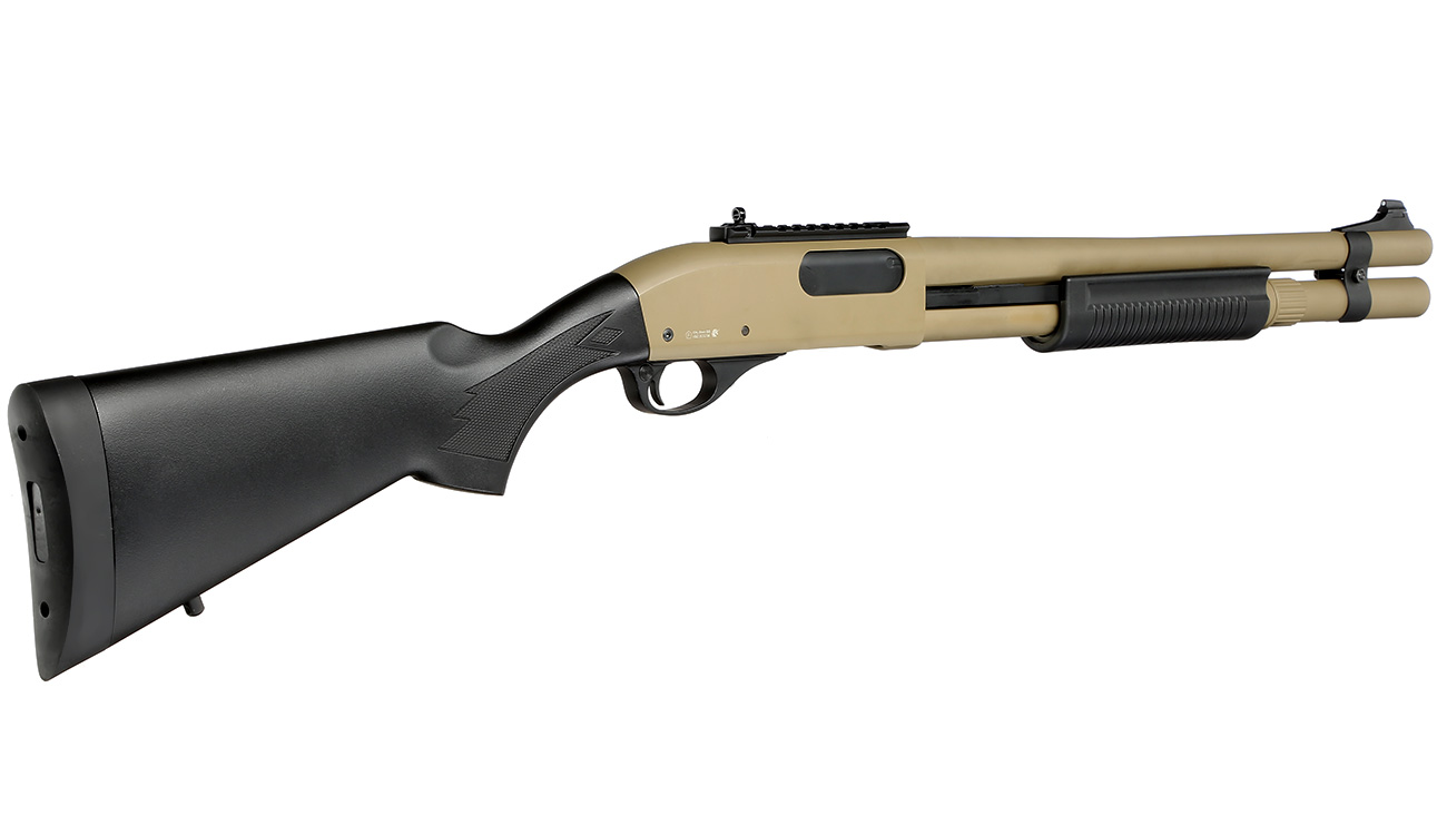 Golden Eagle M8872 Vollmetall Pump Action Gas Shotgun 6mm BB Tan 3