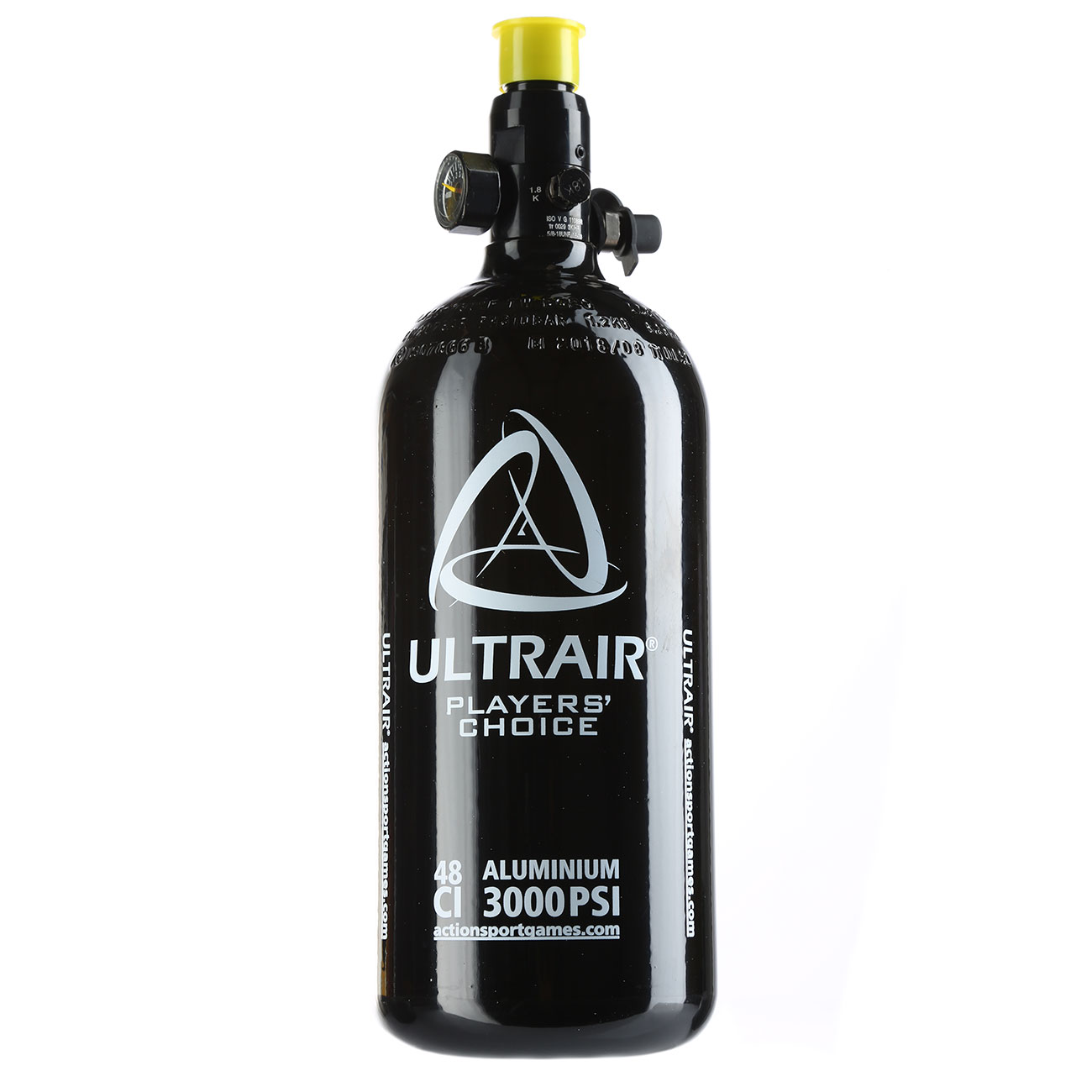 Ultrair 0,8L / 48ci HPA Tank mit Regulator 3000 PSI / 850 PSI schwarz 0