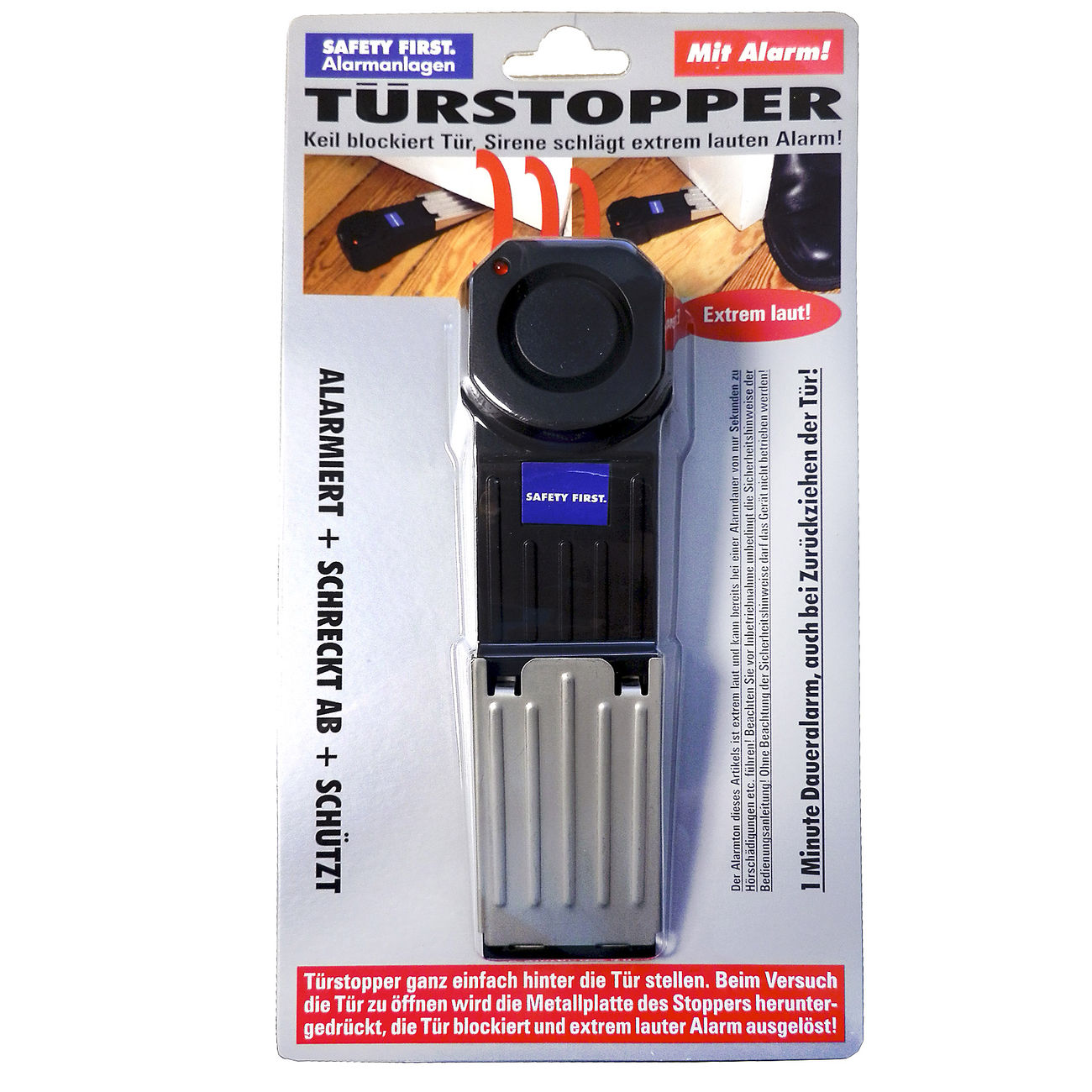 Safety First Alarm-Türstopper Türalarm inkl. LED-Batteriekontrolle schwarz 1
