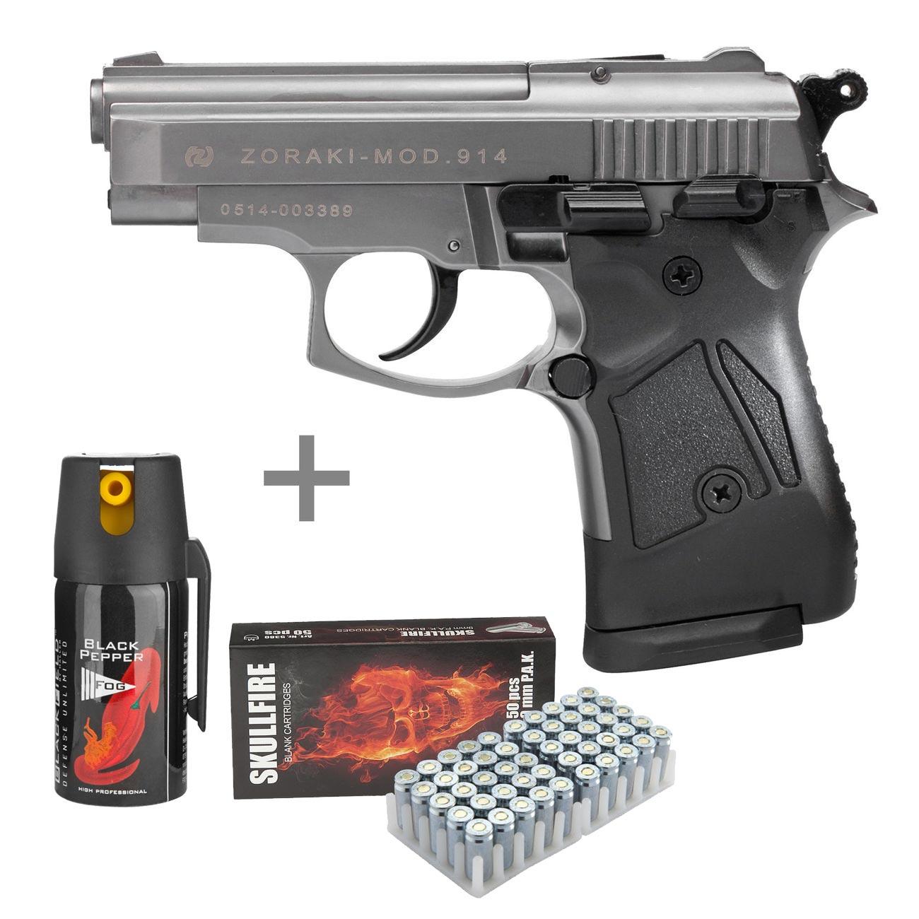 Zoraki 914 Schreckschuss Pistole 9mm P A K  titan inkl  50 Schuss Skullfire  und Pfefferspray