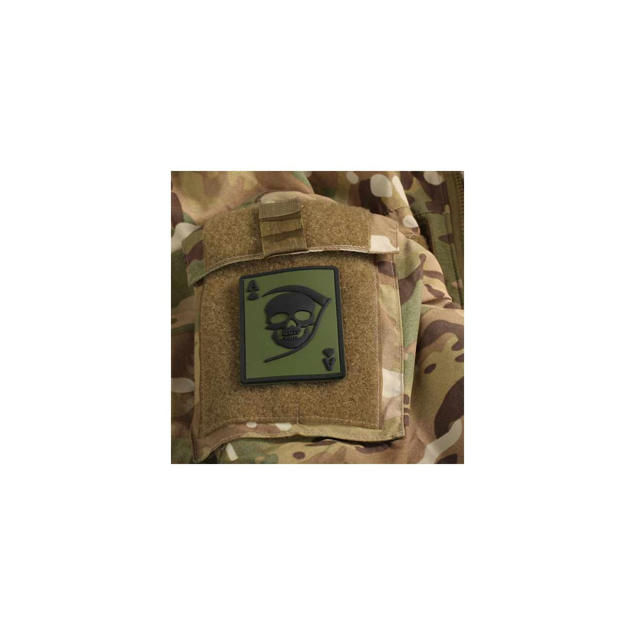3D Rubber Patch Death Ace oliv schwarz 1