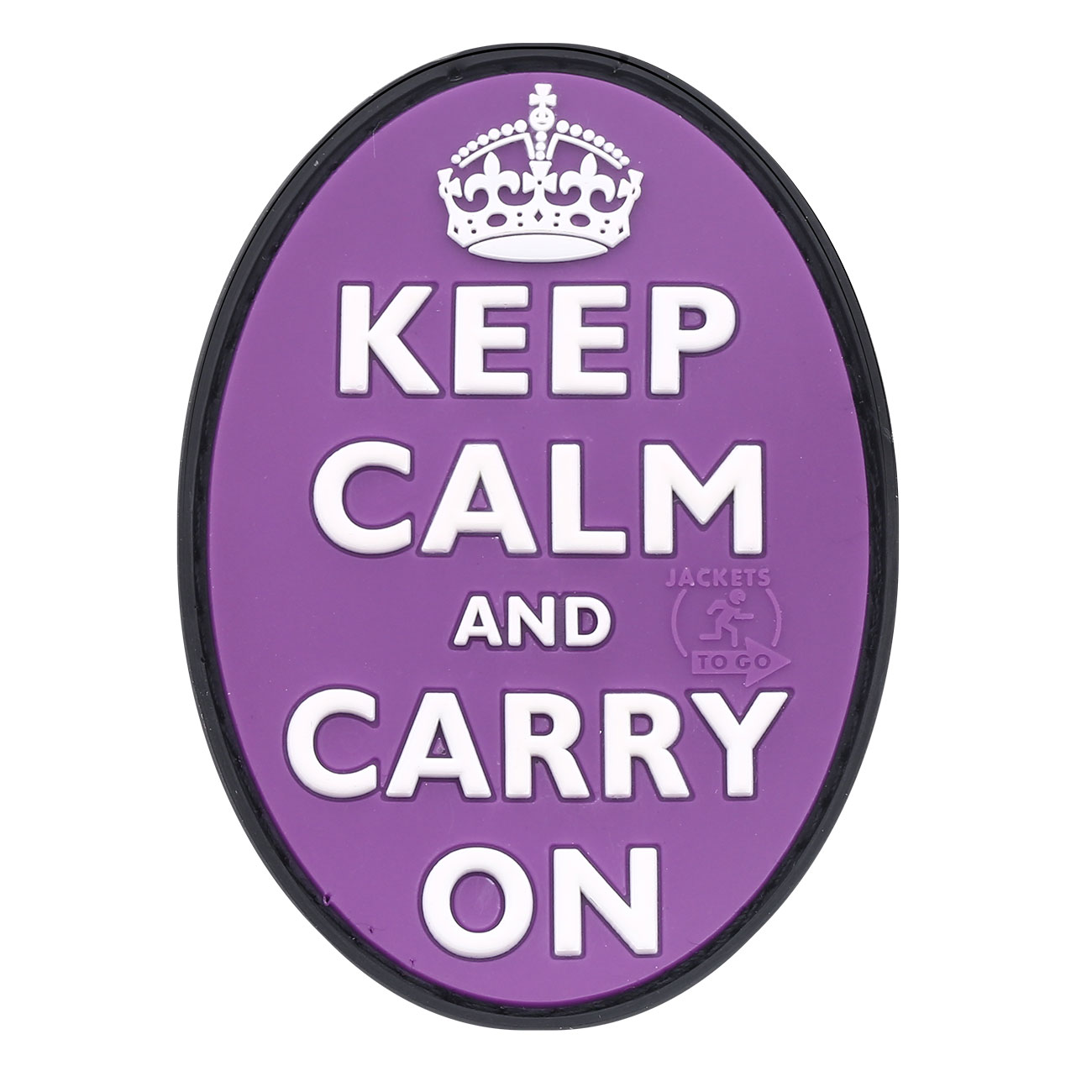JTG 3D Rubber Patch Keep Calm and Carry on lila 0