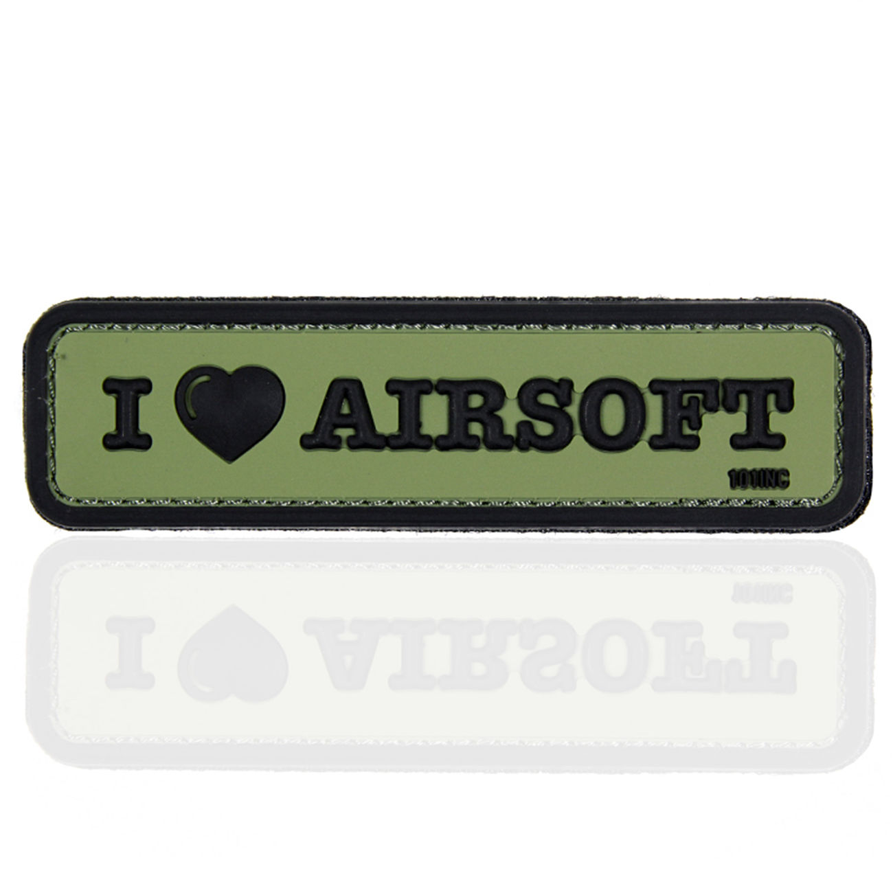 101 INC. 3D Rubber Patch I Love Airosoft oliv/schwarz 0