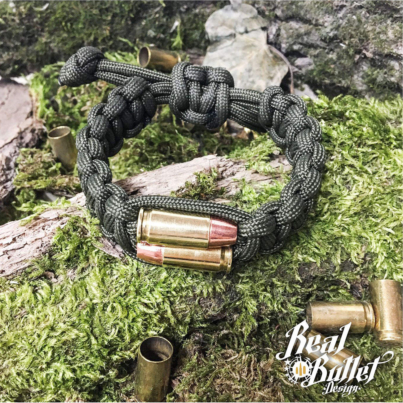 Paracord Armband Bullet Twins oliv Kal. 9mm Patrone 0