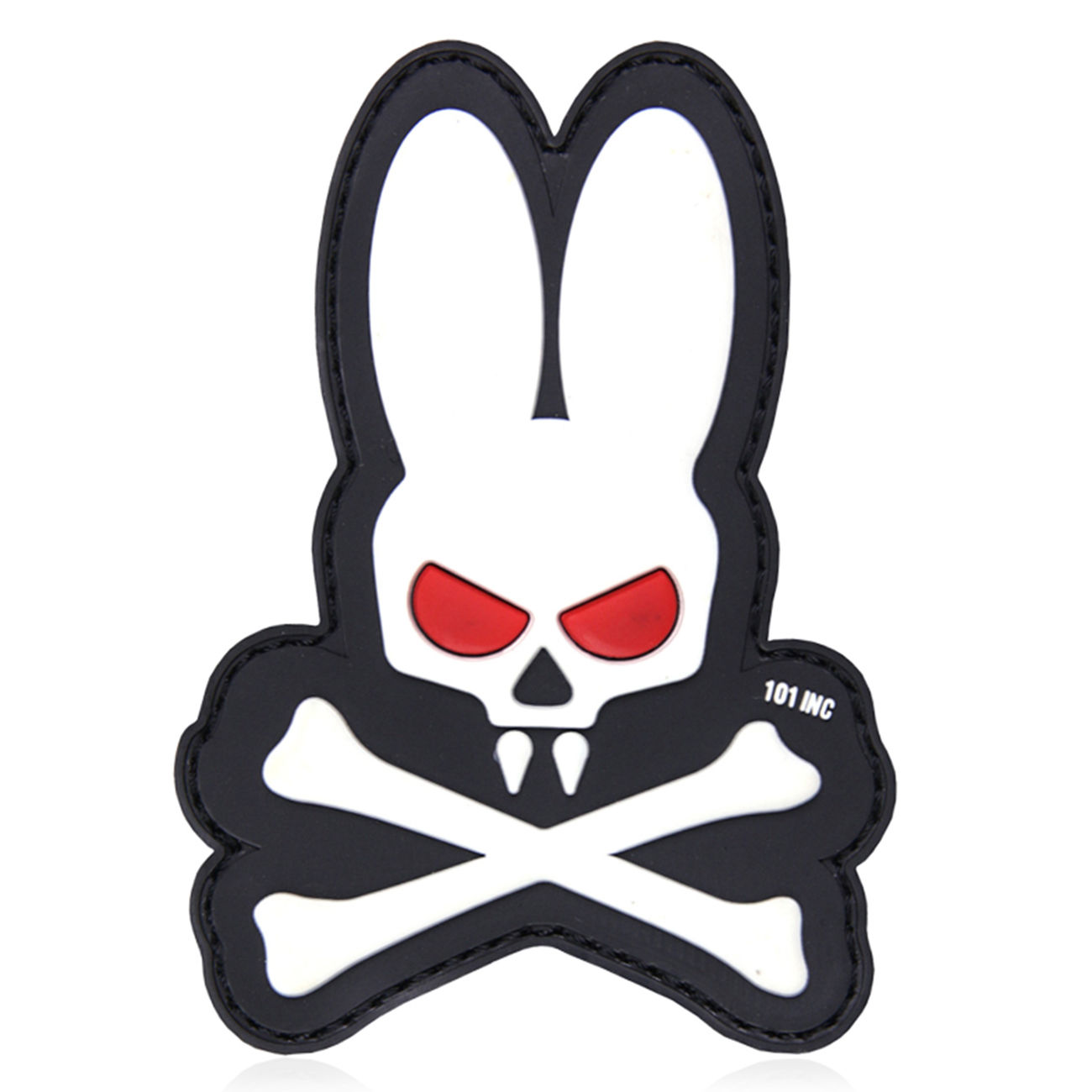 101 INC. 3D Rubber Patch Skull Bunny weiß 0