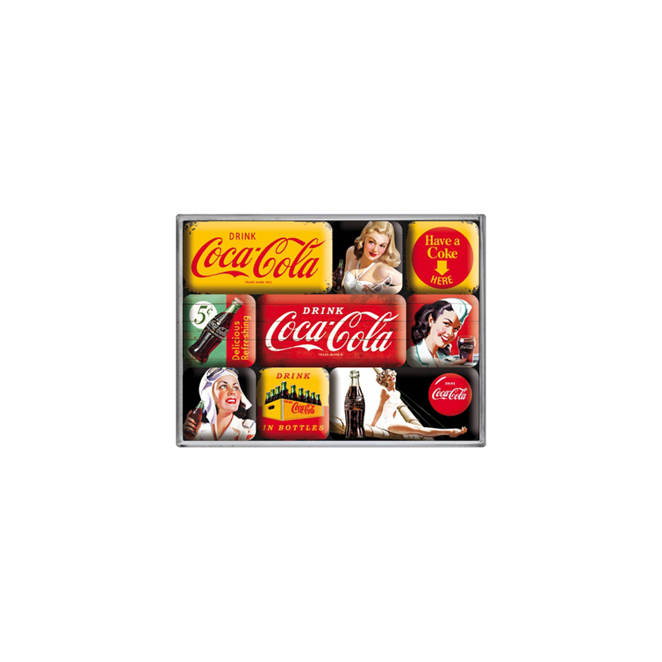 Coca Cola Magnet Set Coca Cola Yellow Mix 9teilig 0