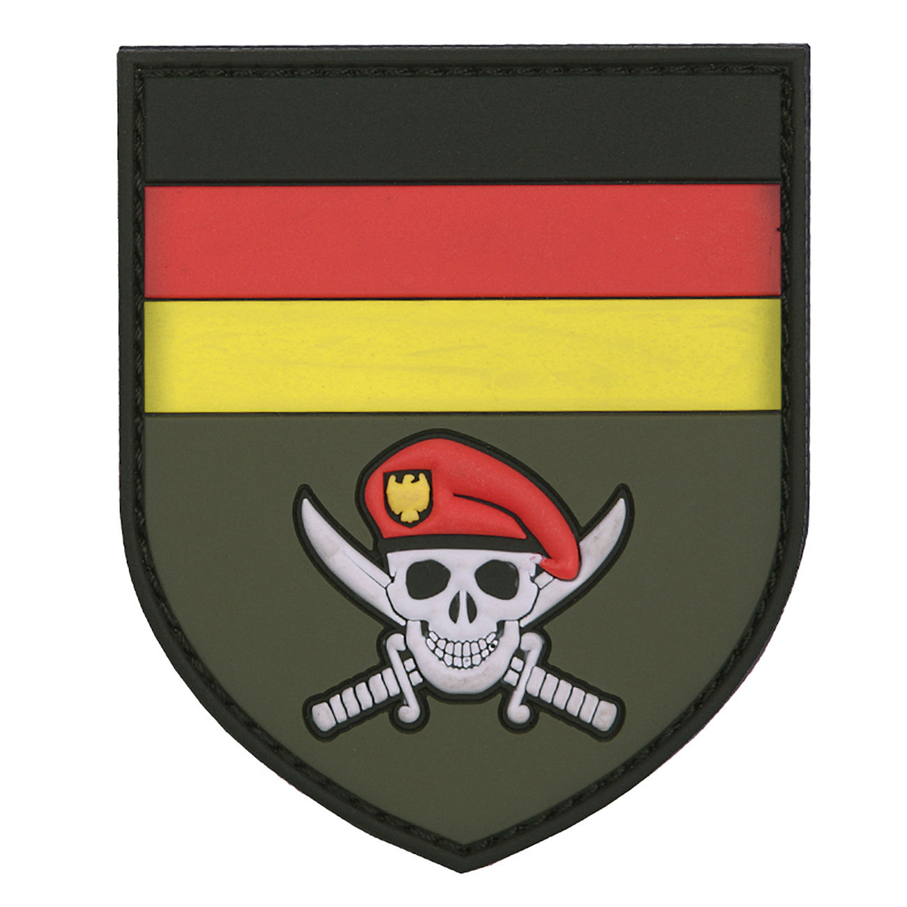 3D Rubber Patch German Commando Skull 0