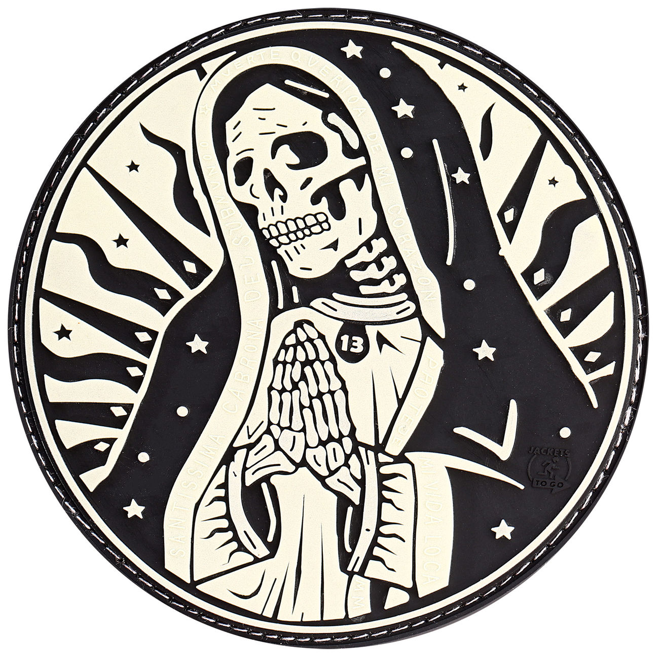 JTG 3D Rubber Patch Santa Muerte Patch nachleuchtend 0