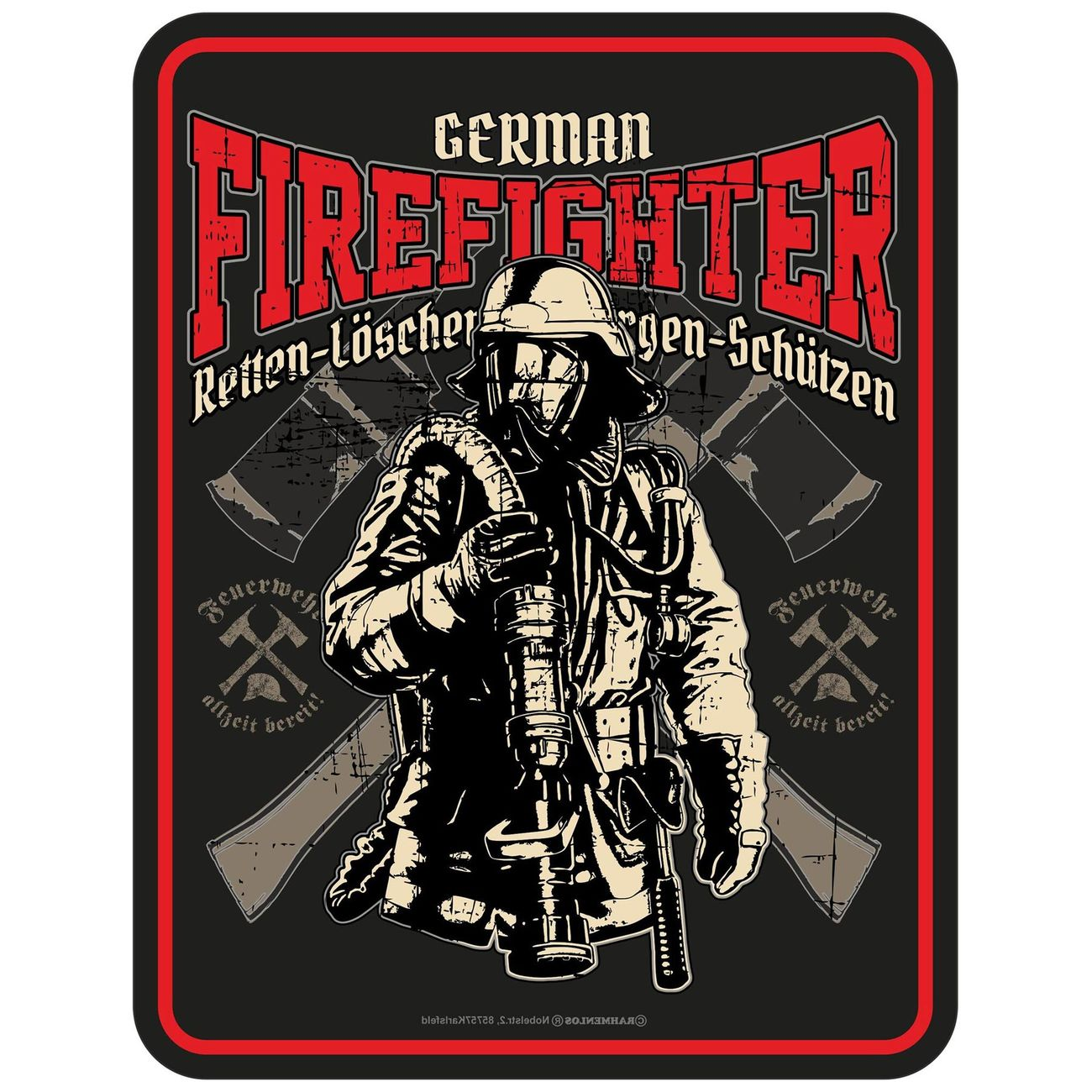 Blechschild German Firefighter 0