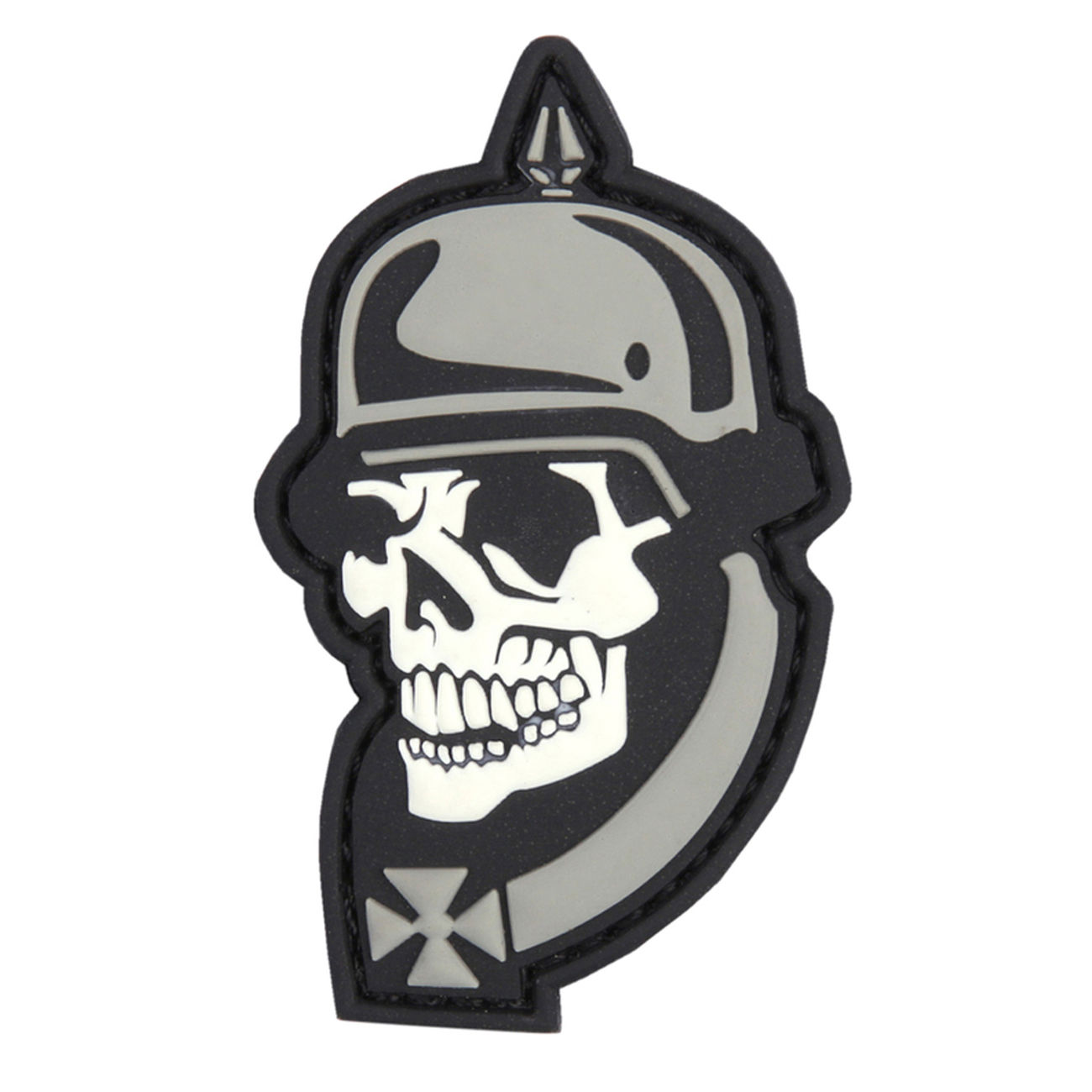 3D Rubber Patch WW I Skull grau 0