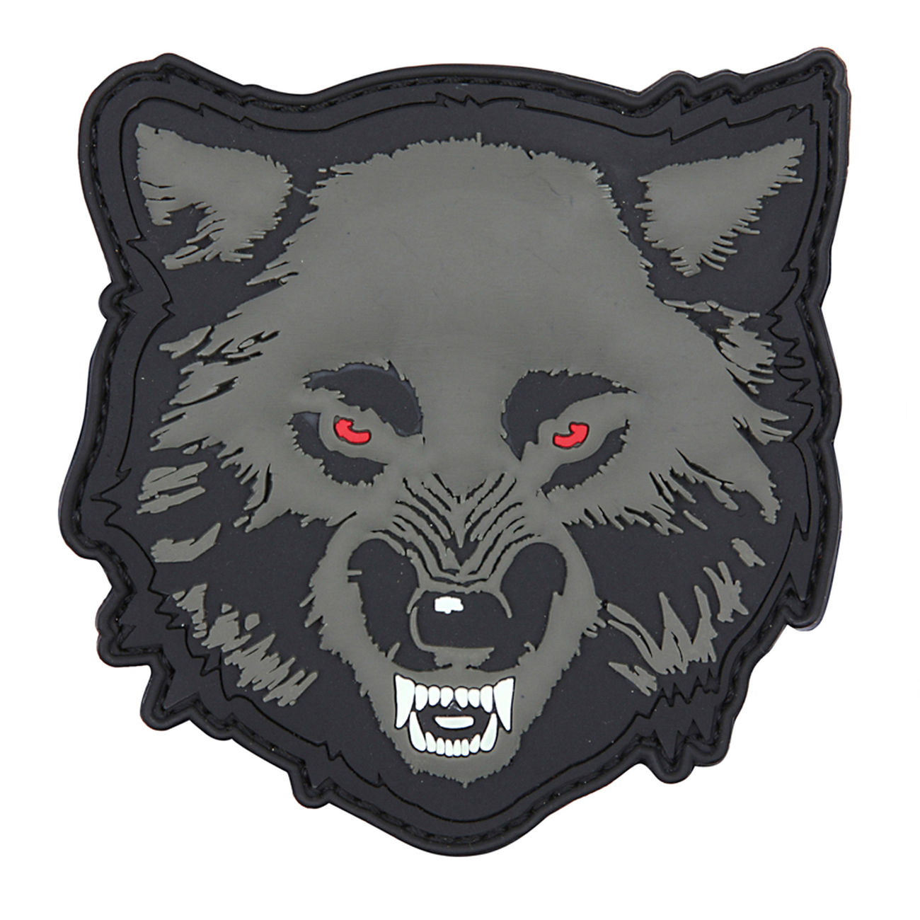 3D Rubber Patch Wolf grau 0