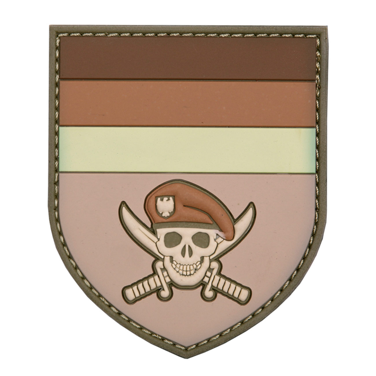3D Rubber Patch German Commando Skull braun 0