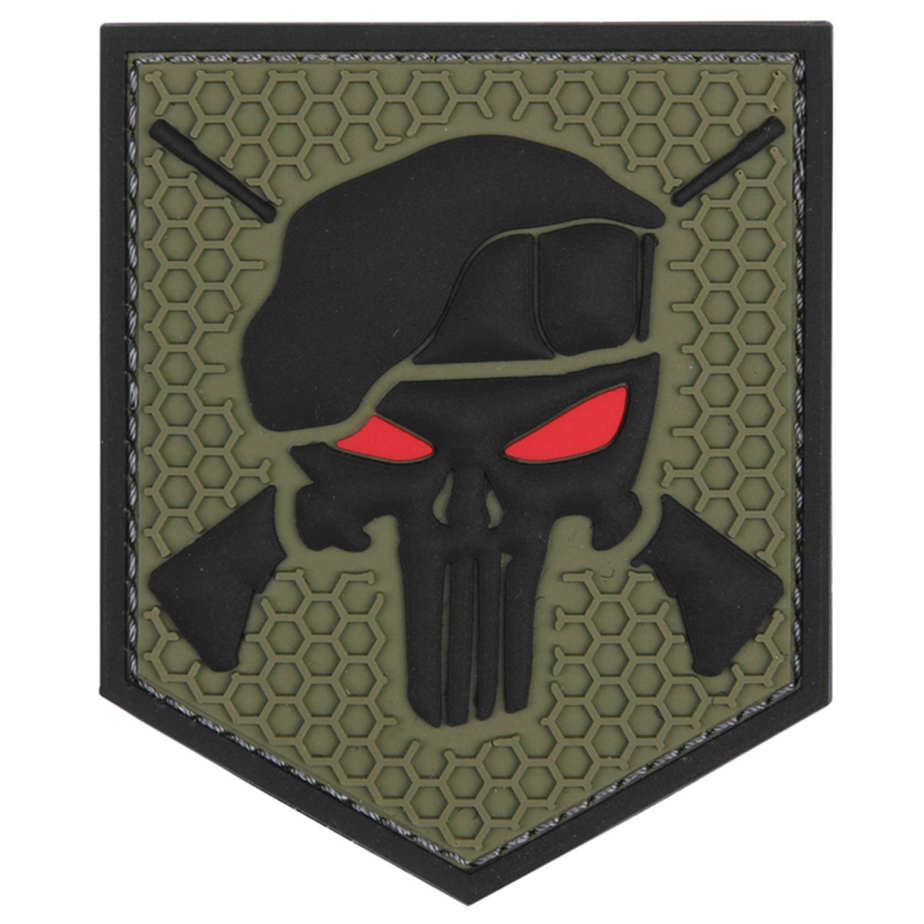 3D Rubber Patch Commando Punisher grün 0
