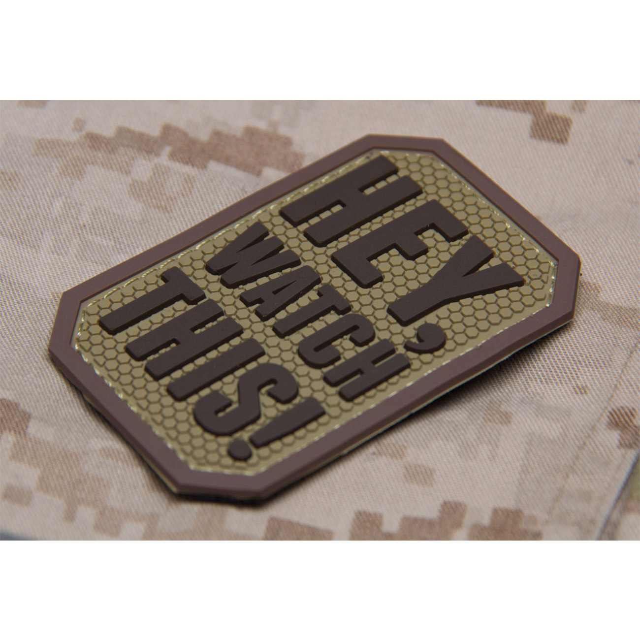 Mil-Spec Monkey 3D Rubber Patch Hey Watch This desert 1