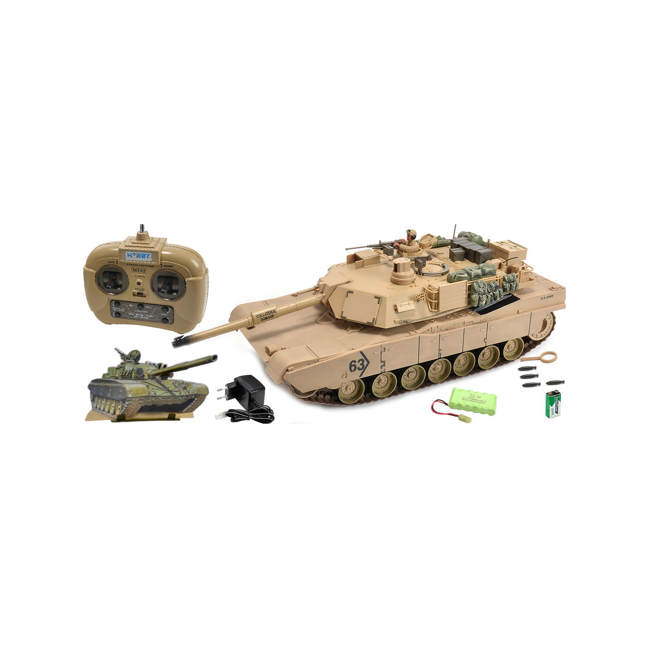 carson rc panzer m1a2 abrams mit 4 raketen sand 1 16. Black Bedroom Furniture Sets. Home Design Ideas