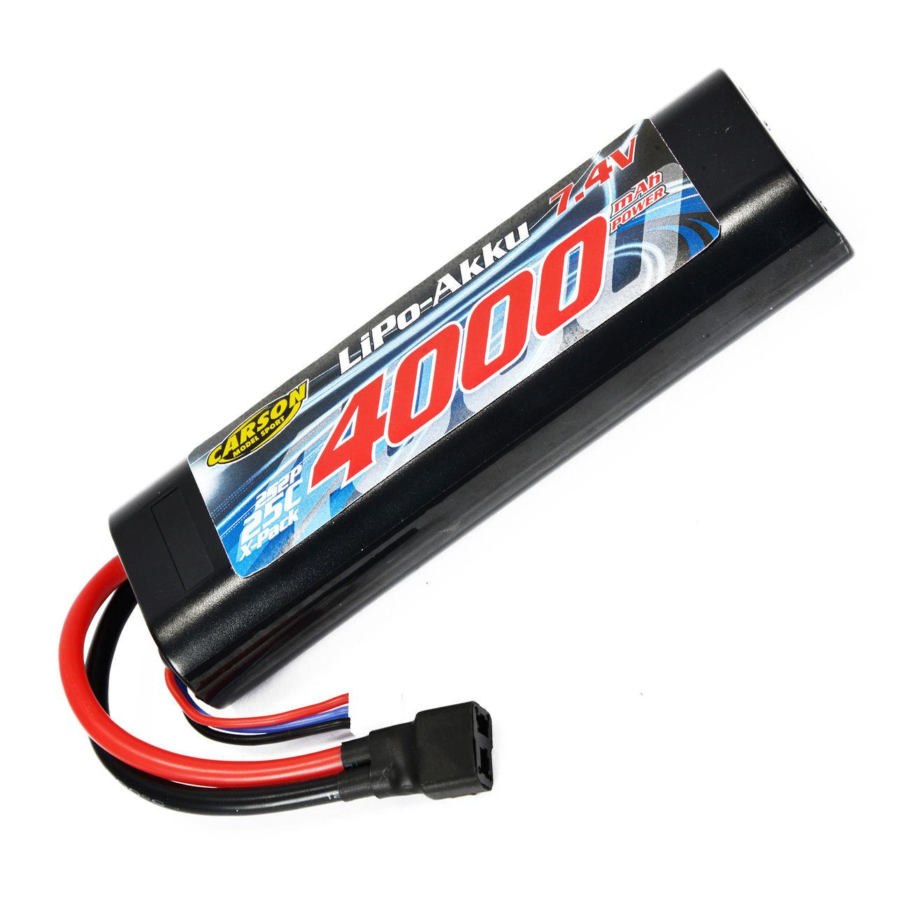 Carson lipo akku 7 4v 4000mah 25c racing pack t stecker for Lipo schreibtisch