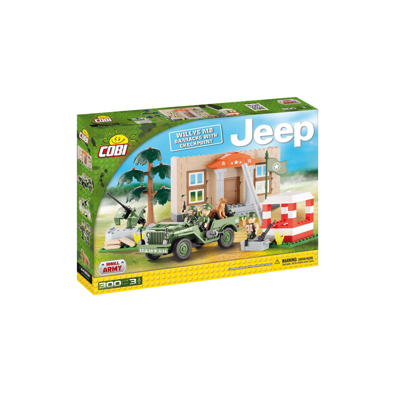 cobi small army bausatz jeep willys mb mit barracks und. Black Bedroom Furniture Sets. Home Design Ideas