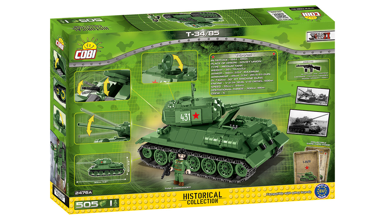 Cobi Historical Collection Bausatz Panzer T34/85 505 Teile 2476A 2
