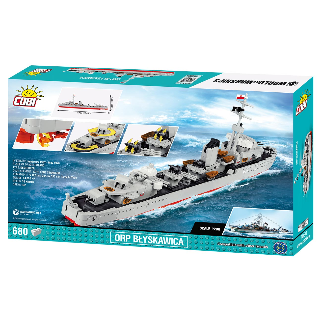 Cobi World of Warships Small Army Bausatz Schiff Orp Blyskawica 680 Teile 3080 2