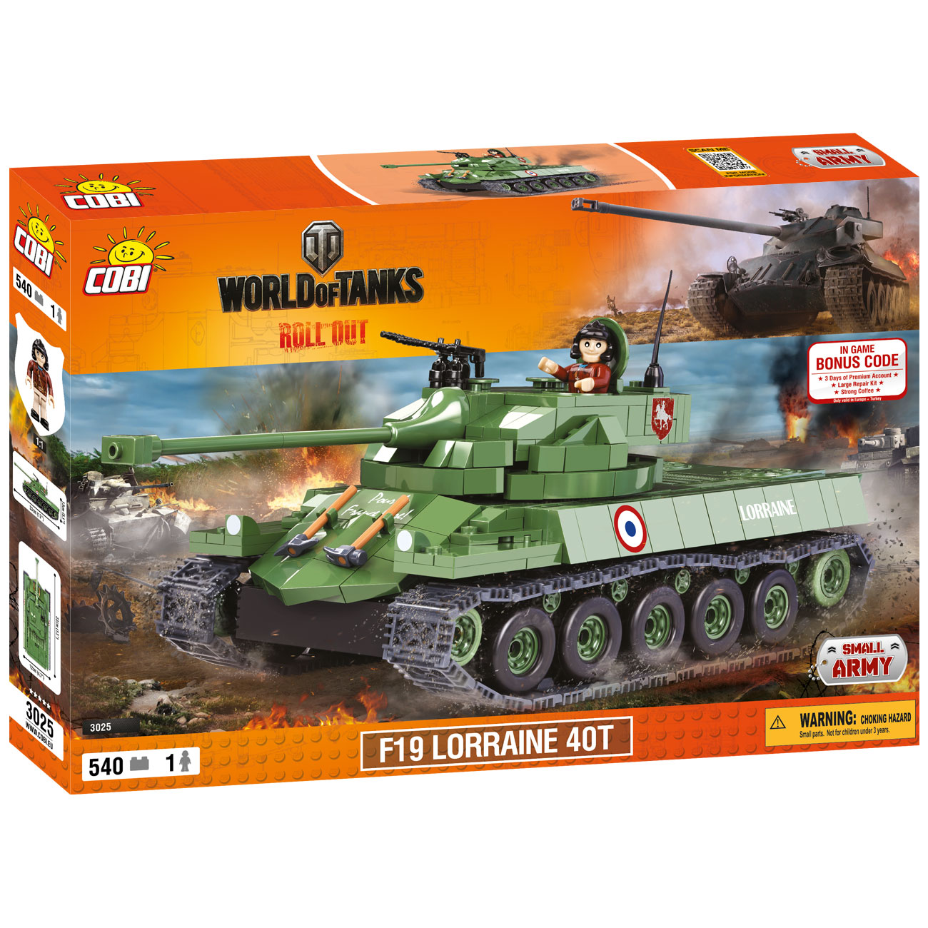 Cobi World Of Tanks Roll Out Small Army Bausatz Panzer F19 Lorraine 40T 540 Teile 3025 1