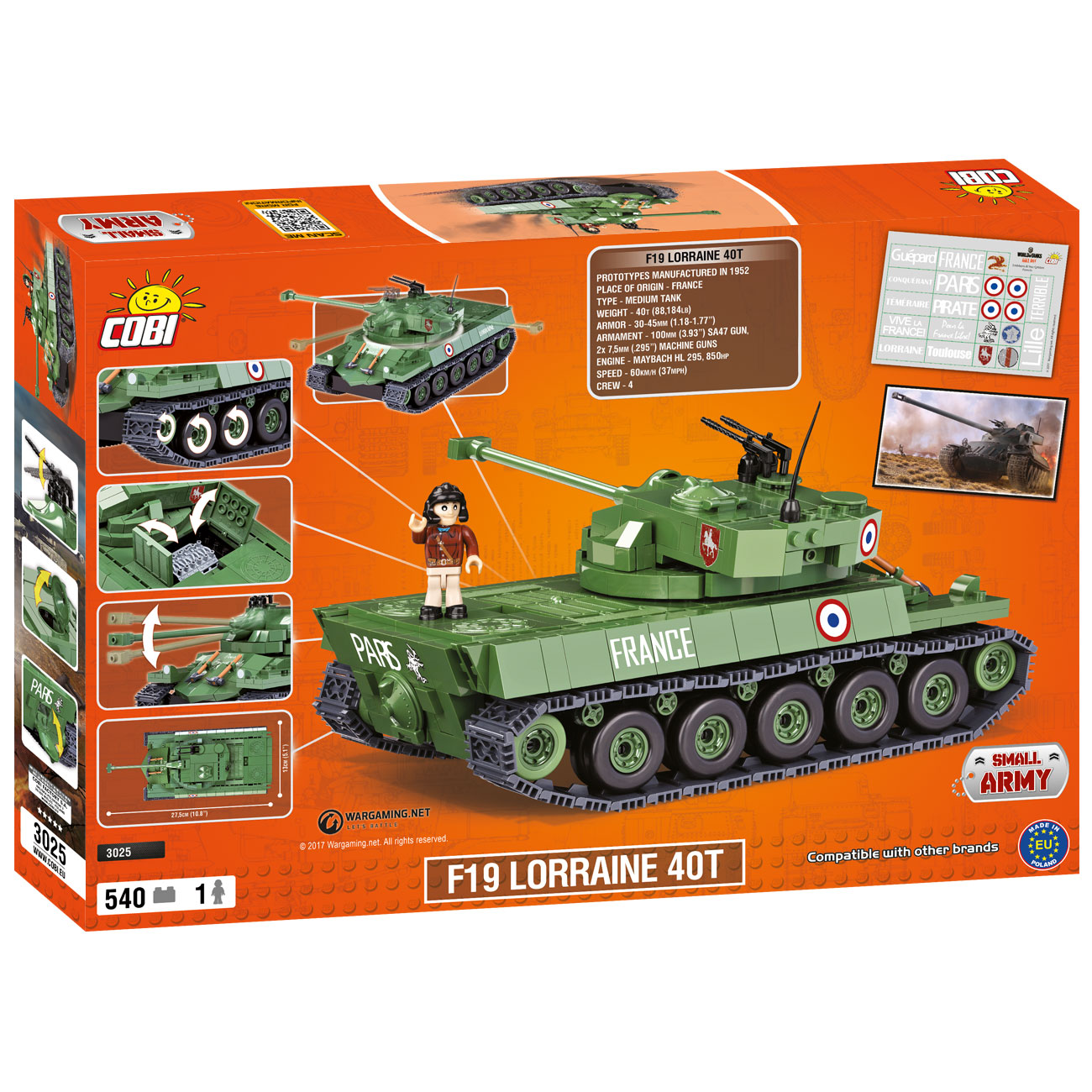 Cobi World Of Tanks Roll Out Small Army Bausatz Panzer F19 Lorraine 40T 540 Teile 3025 2
