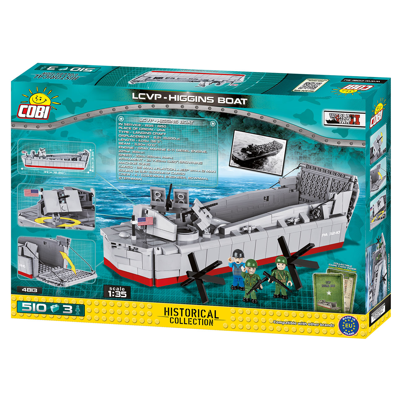 Cobi Historical Collection Bausatz Landungsboot LCVP Higgins Boat 510 Teile 4813 2