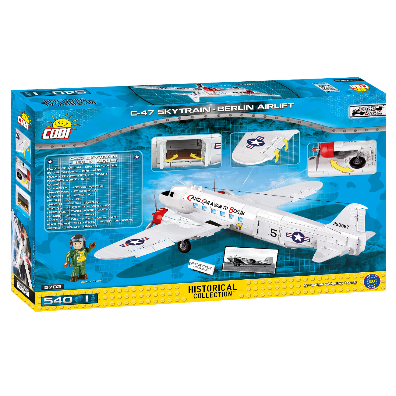 Cobi Historical Collection Bausatz Flugzeug C-47 Skytrain - Berlin Airlift 540 Teile 5702 4
