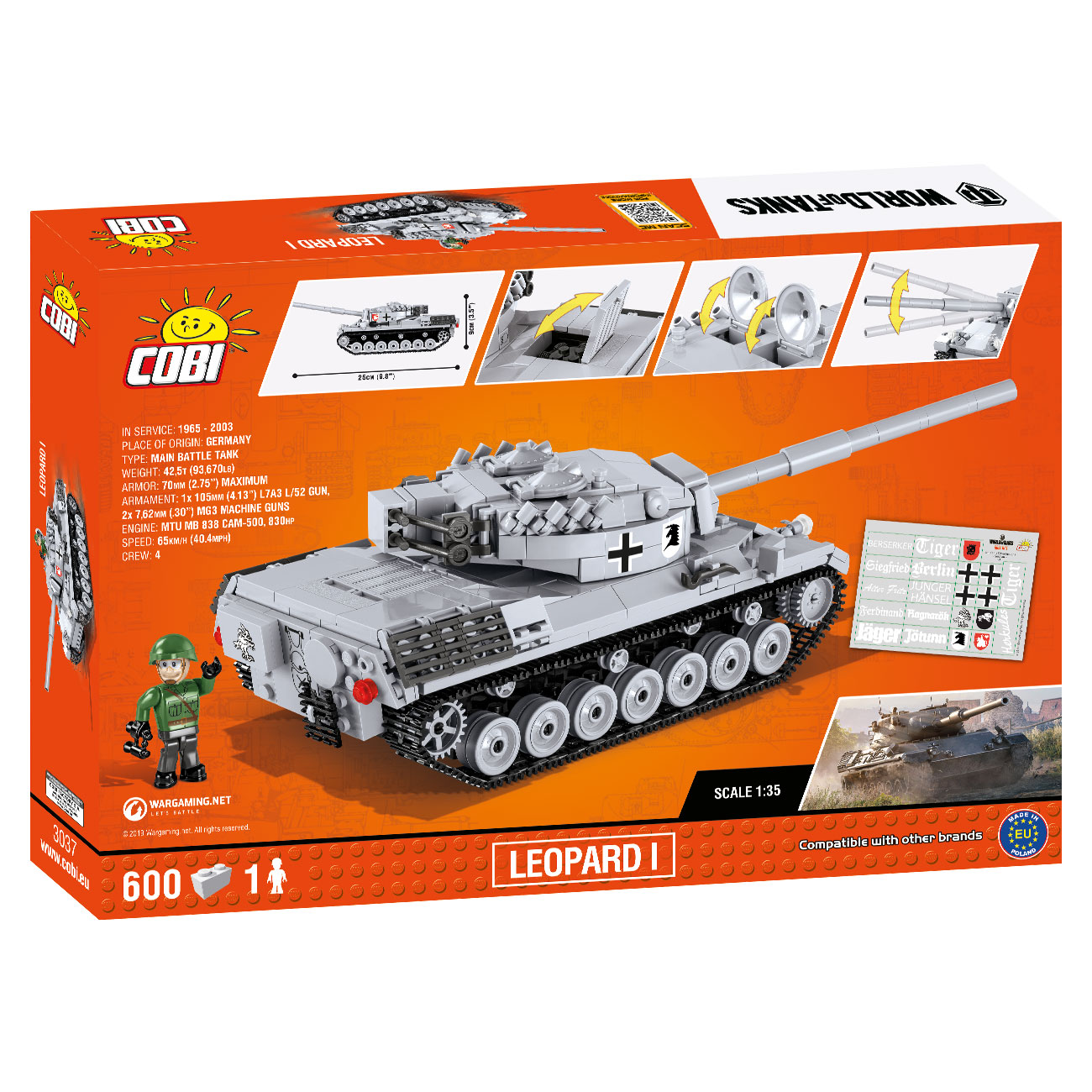 Cobi World Of Tanks Small Army Bausatz Panzer Leopard I 600 Teile 3037 3