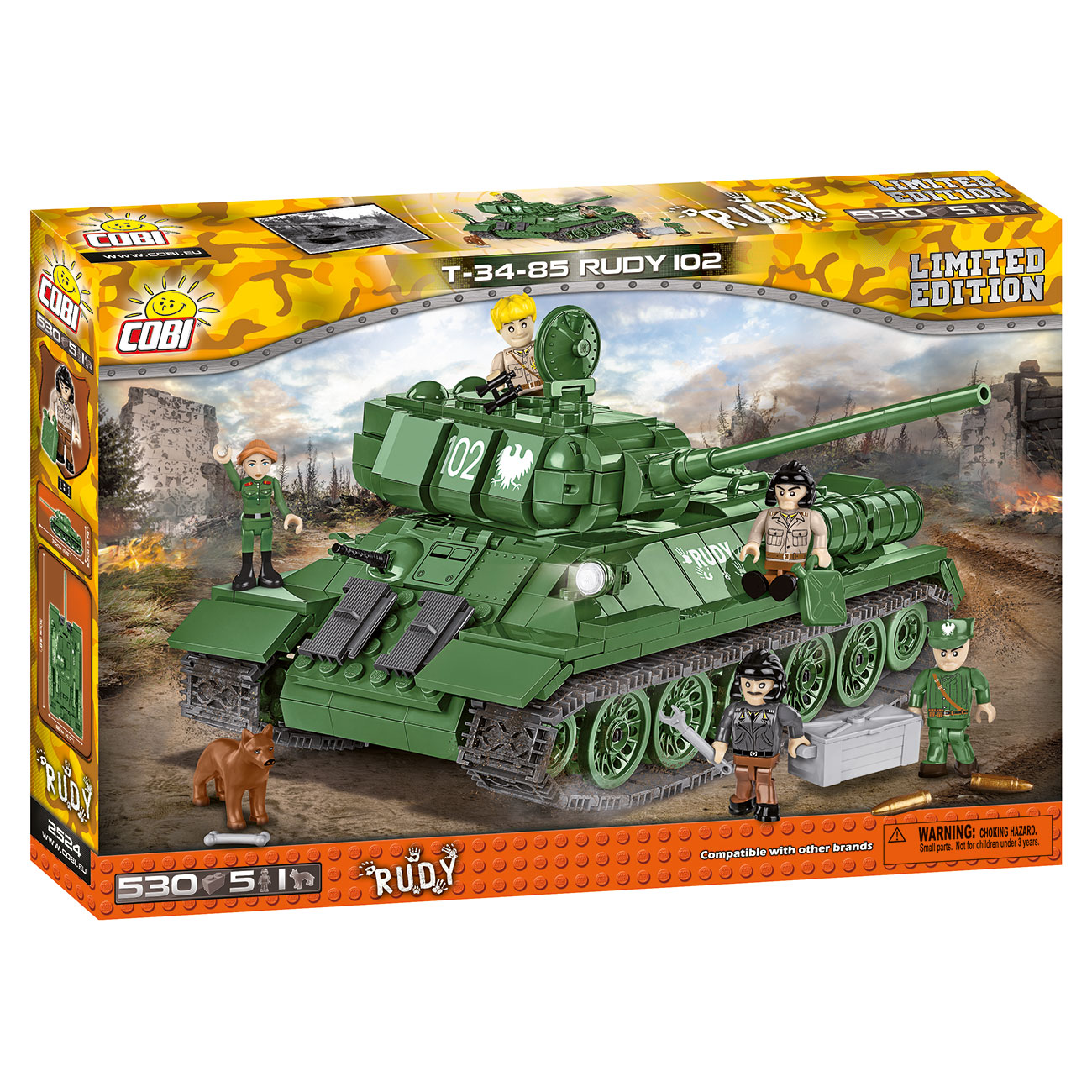 Cobi Small Army Collection Bausatz Panzer T34-85 Rudy 102 530 Teile 2524 Limited Edition 1