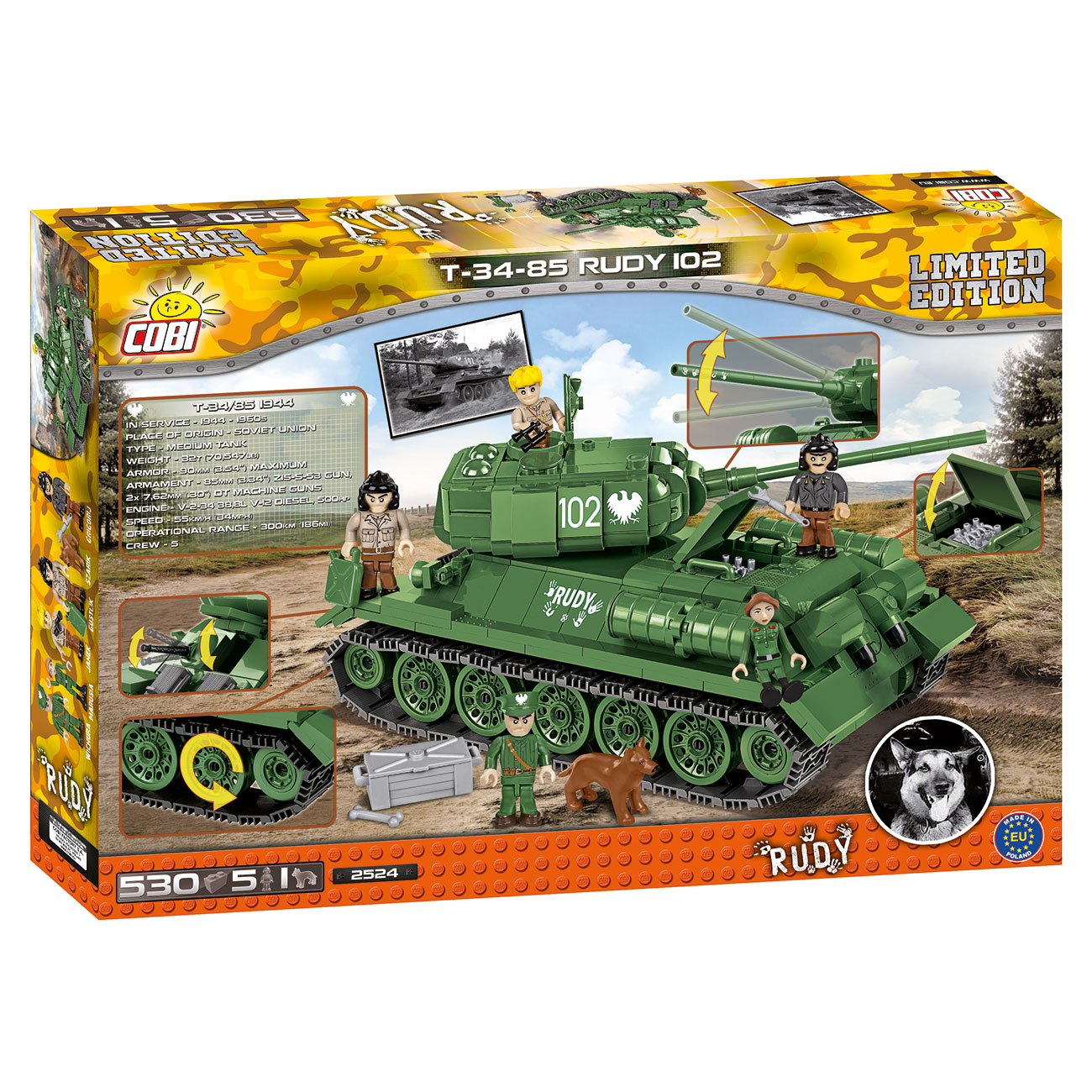 Cobi Small Army Collection Bausatz Panzer T34-85 Rudy 102 530 Teile 2524 Limited Edition 2
