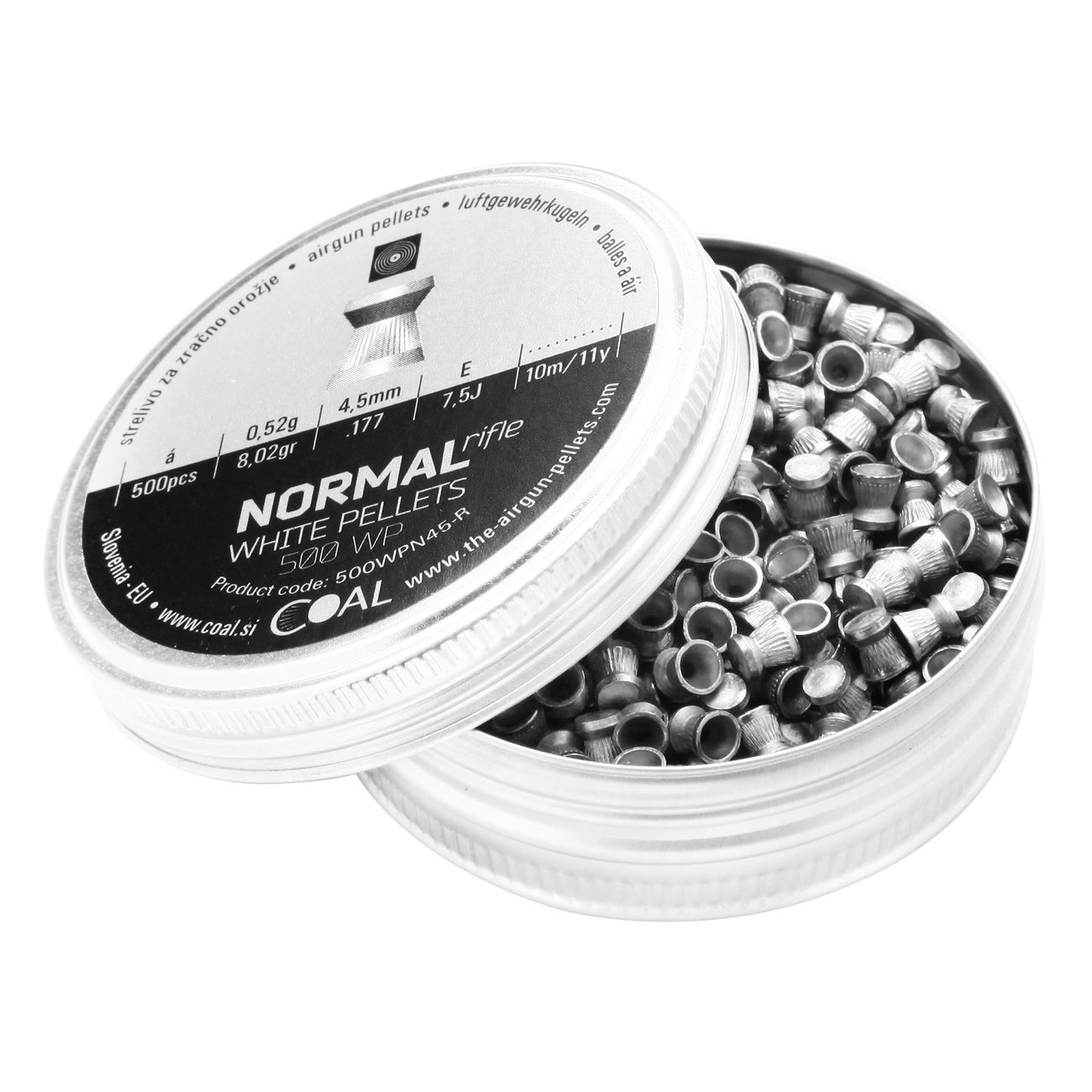 Coal Flachkopf-Diabolo Normal White Pellets Rifle Match geriffelter Schaft Kal. 4,51mm 500er Dose 2